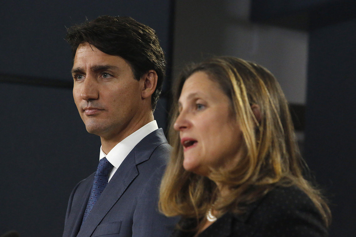 Photo of Justin Trudeau and Chrystia Freeland