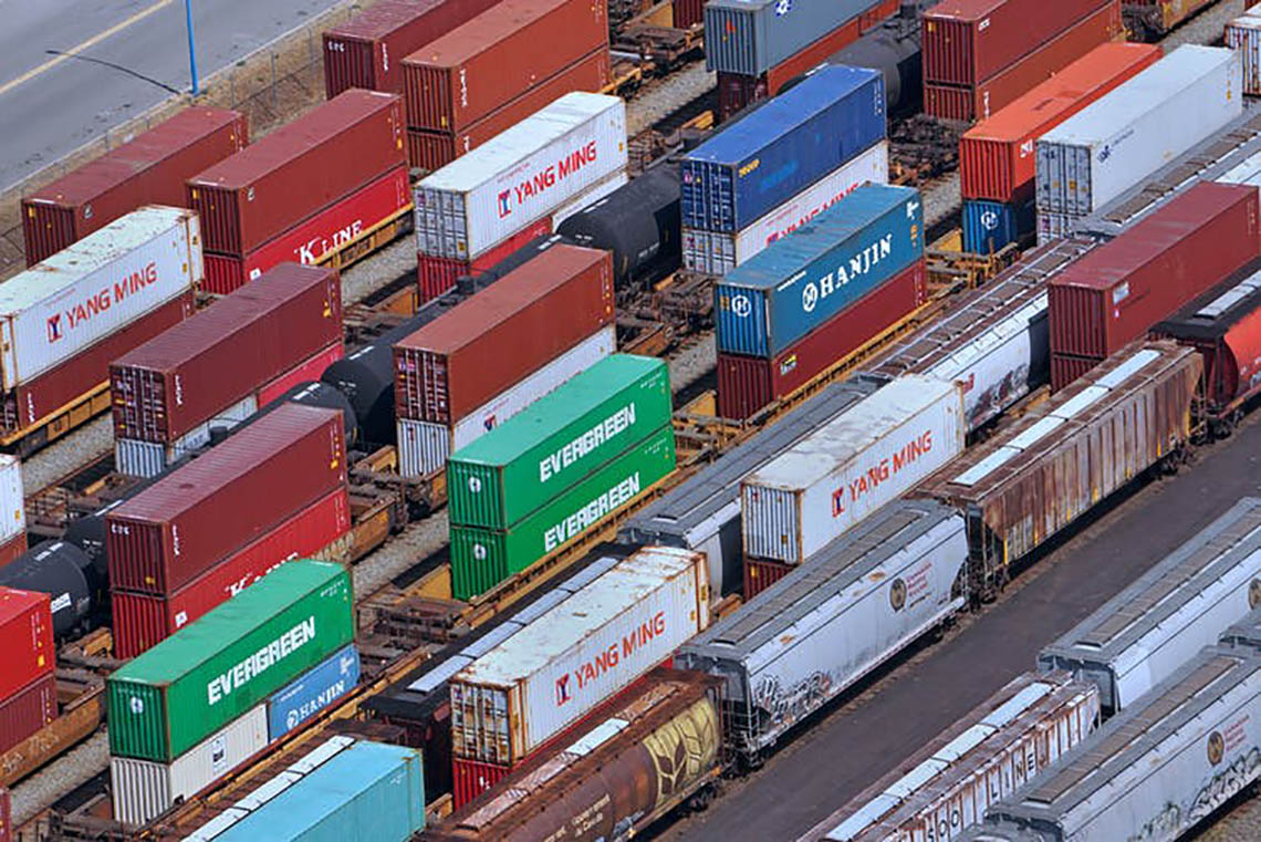 Photo of cargo containers in port of Vancouver