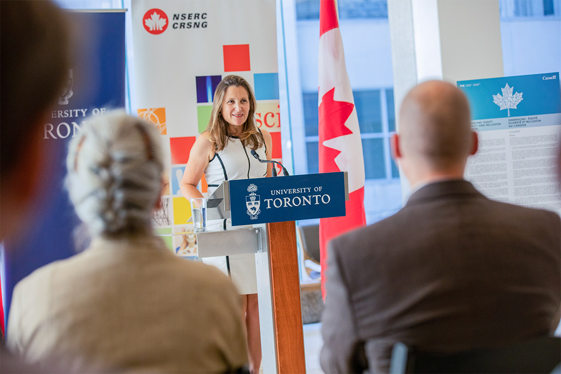 Chrystia Freeland at NSERC annoucement