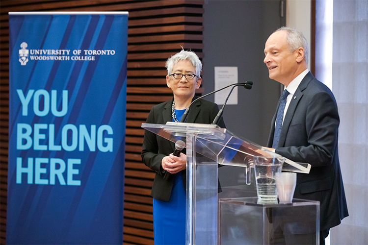 Carol Chin with Meric Gertler at the podium during her installation