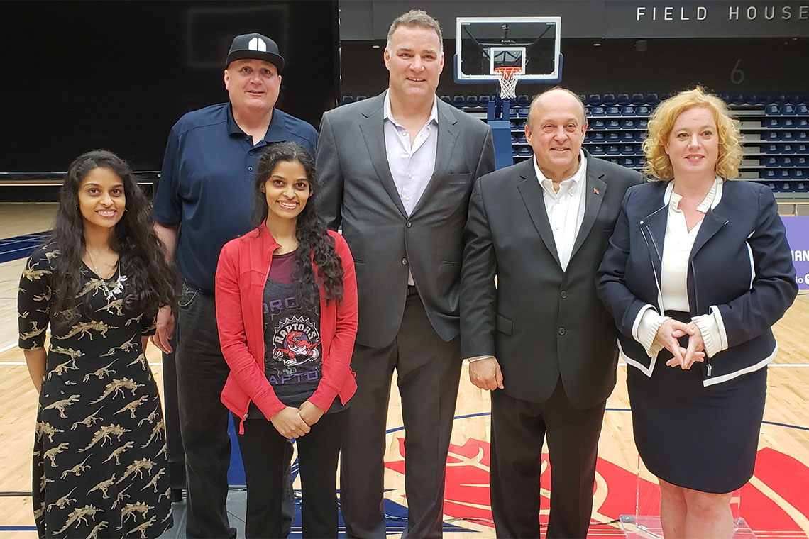 Sandhya and Swapna Mylabathula with Gordon Stringer, Eric Lindros and Ministers Michael Tibollo and Lisa MacLeod