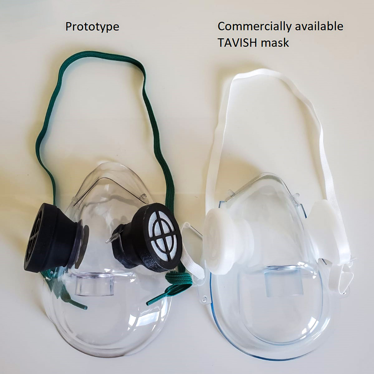 Prototype TAVISH mask beside a commercially available one