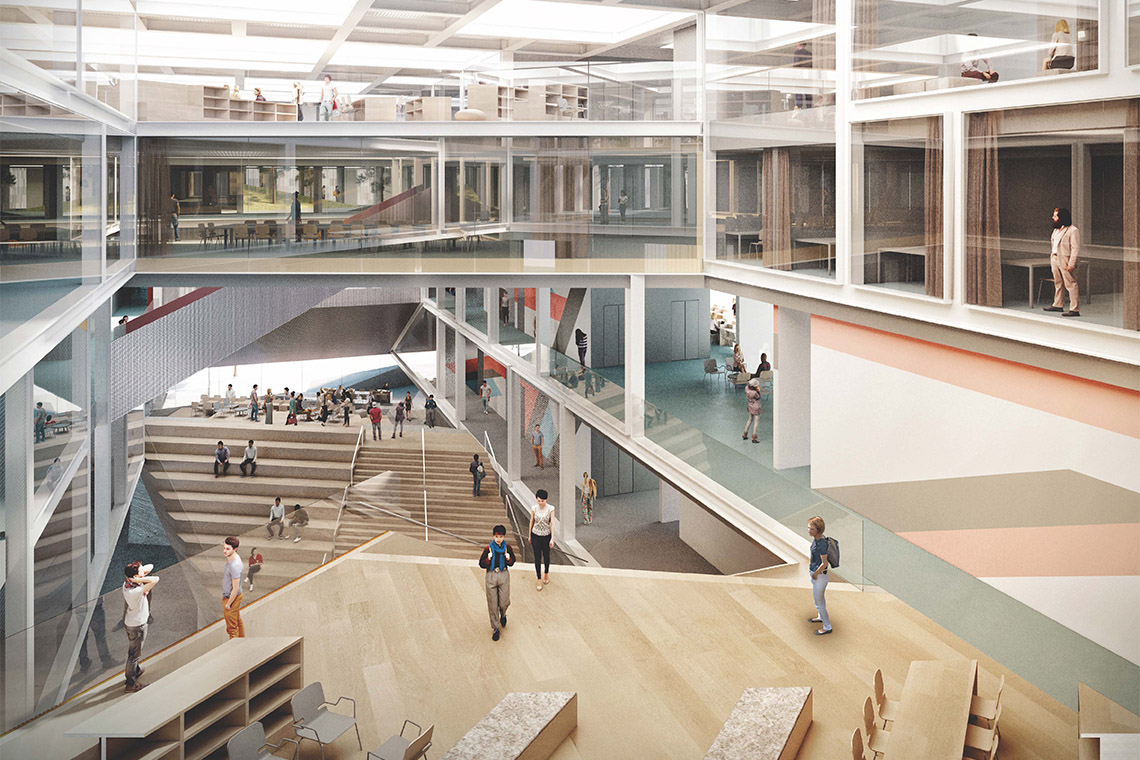 Rendering of the interior of the instructional centre II at UTSC