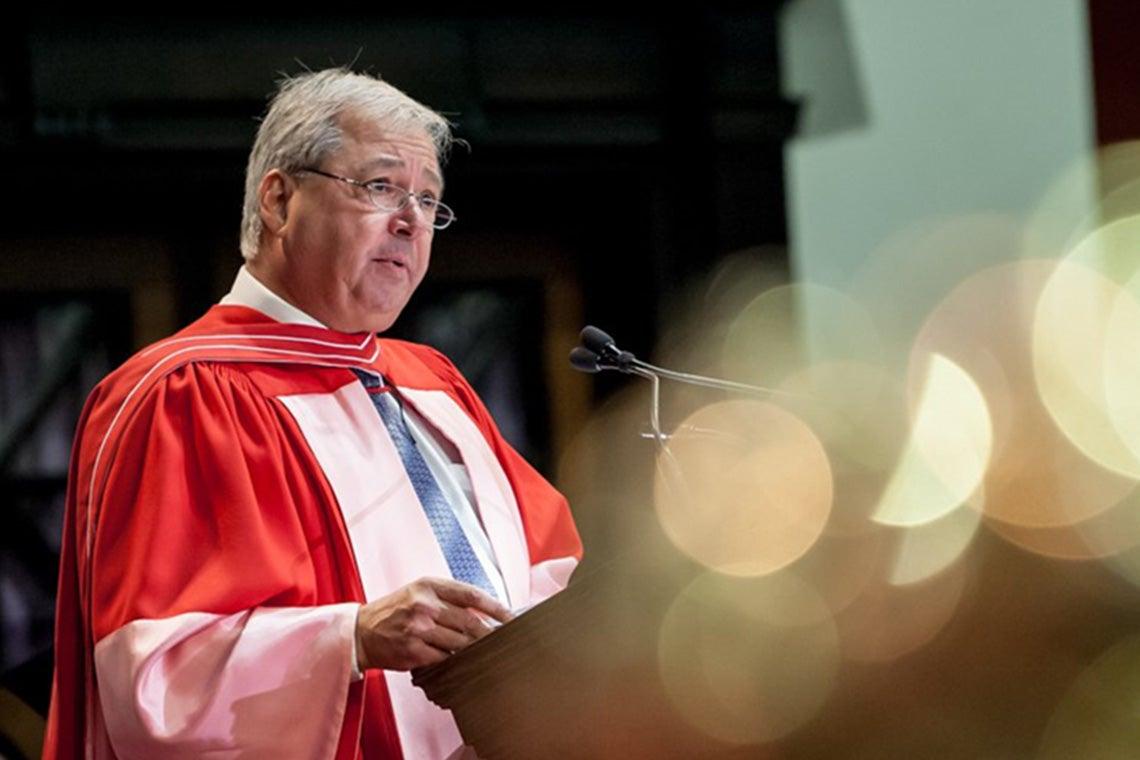 Carlo Fidani delivers his honorary degree speech