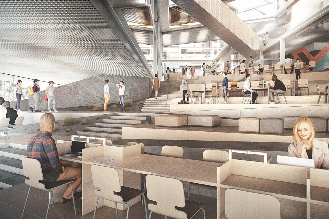 rendering of the interior ground floor level of the instructional centre II at UTSC