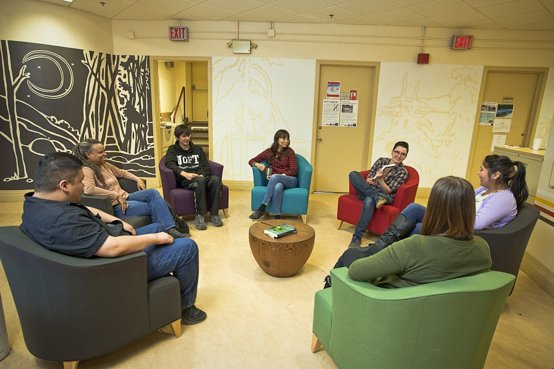 Students gather at the Centre for Aboriginal Initiatives