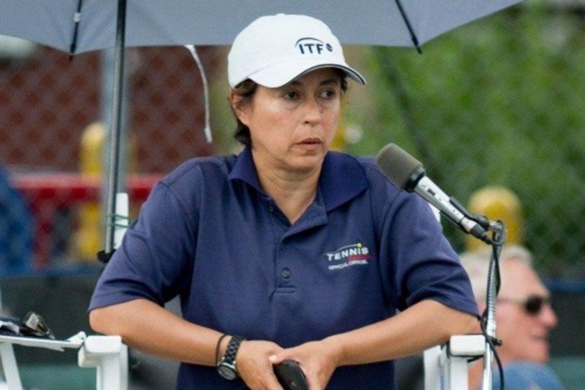 Alison Dias at a tennis match