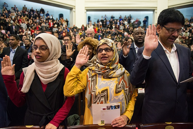 New citizens during oath