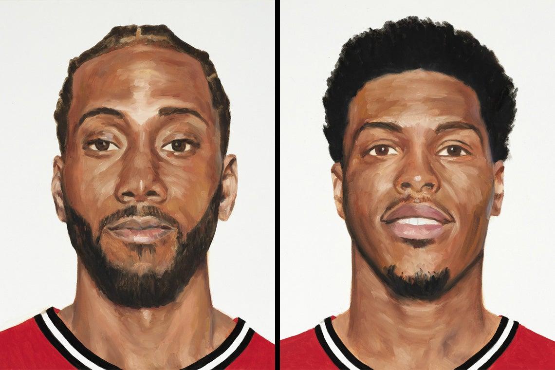 paintings depicting Kawhi Leonard and Kyle Lowry