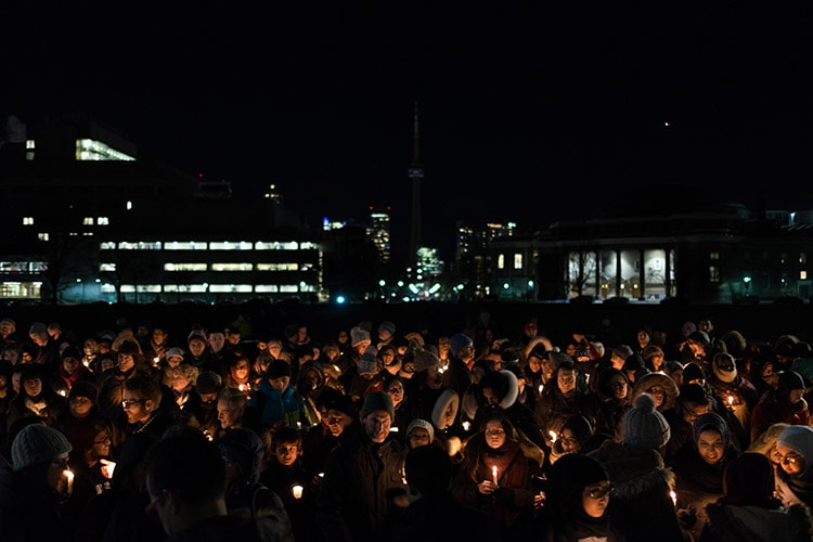 Crowd at U of T Vigil