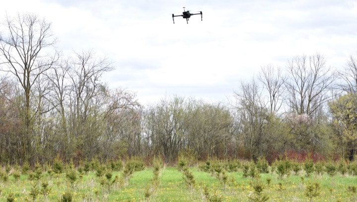 Photo of drone surveying forest'