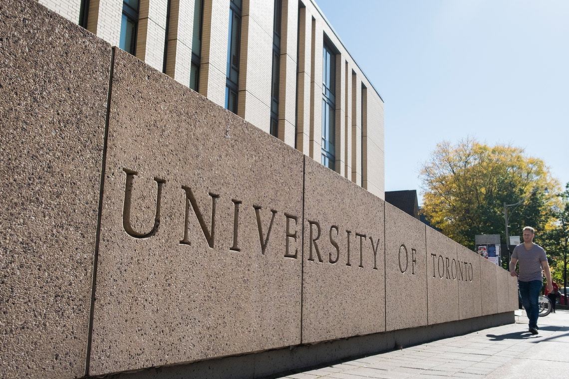 Photo of University of Toronto sign on building