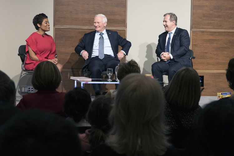 David Johnson (middle) and Tom Jenkins (right) speak with CTV news personality Marci Ien at the book launch of Ingenious. (Photo by Romi Levine)