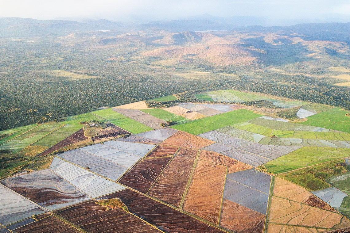 Aerial shot of farmland in Nicaragua