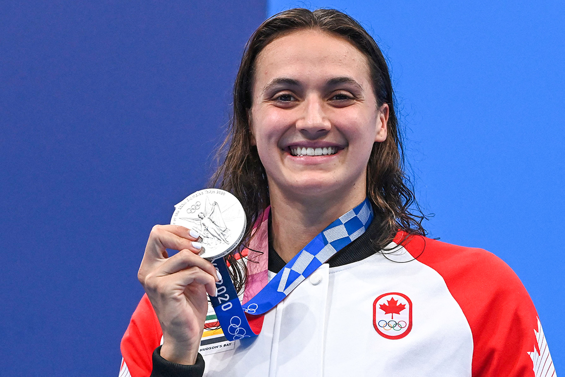 Kylie Masse holds her silver medal at the 2020 Tokyo Olympics