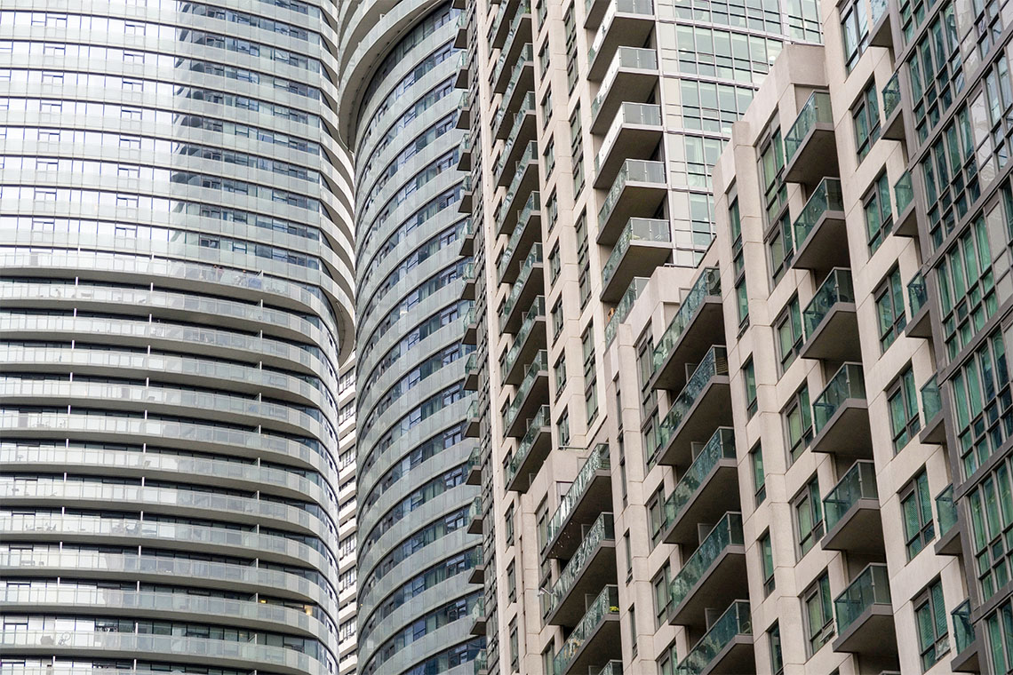 detail view of multiple downtown toronto condominium towers