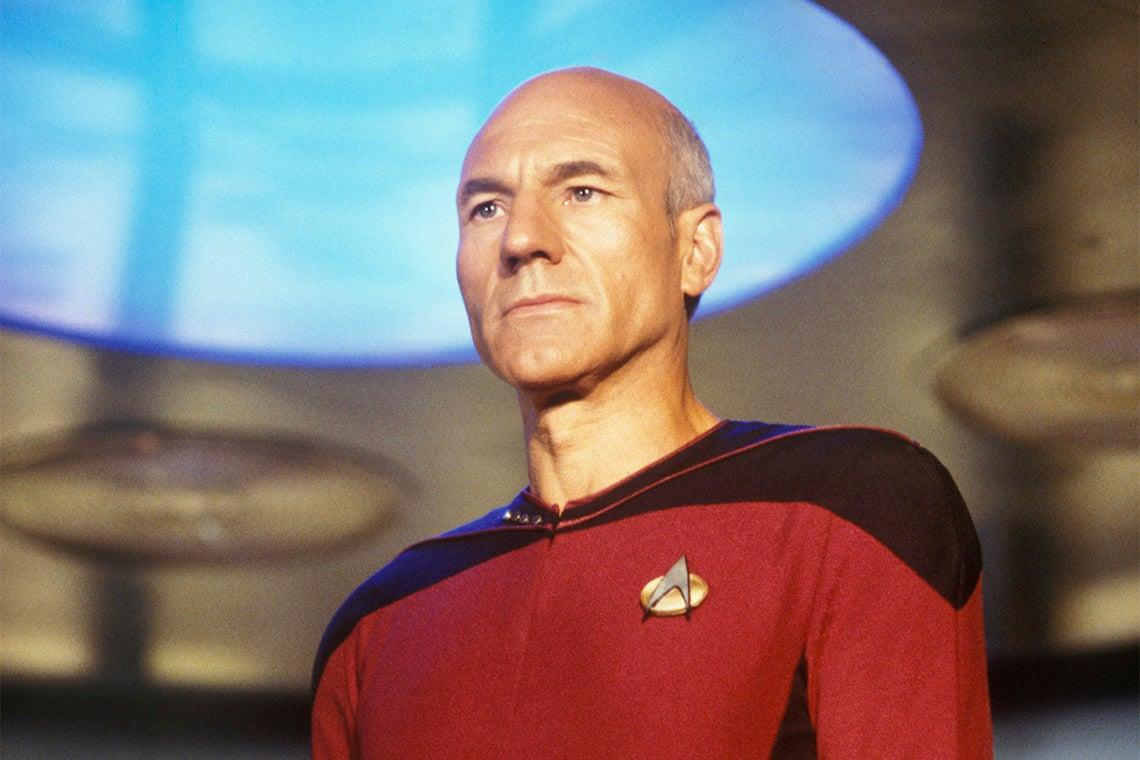 Jean Luc-Picard on the bridge of the starship Enterprise