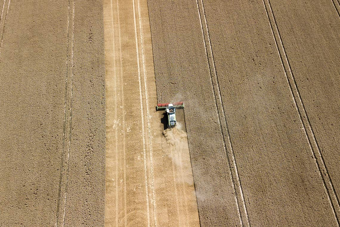 Aerial photo of a combine harvesting a wheat field