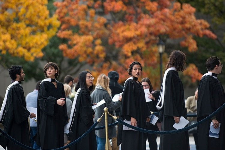 Grads and fall foliage