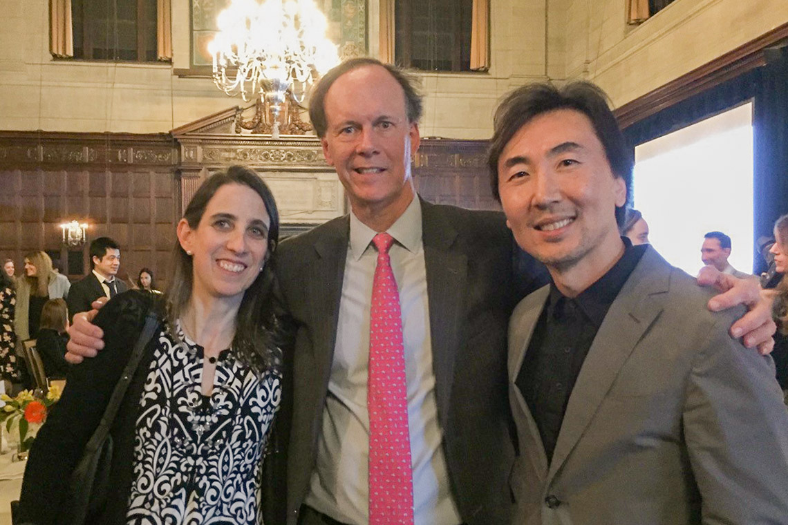 U of T's Meredith Irwin, Nobel laureate William Kaelin Jr. and U of T's Micahel Ohh