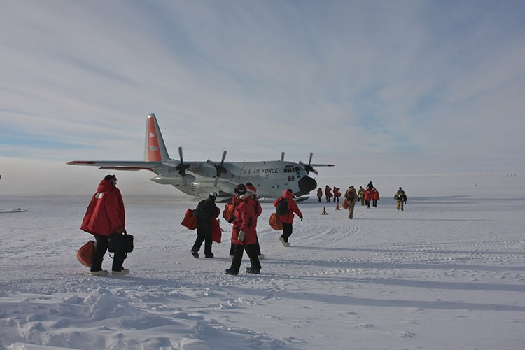 Researchers leaving Antarctica by Keith Vanderlinde
