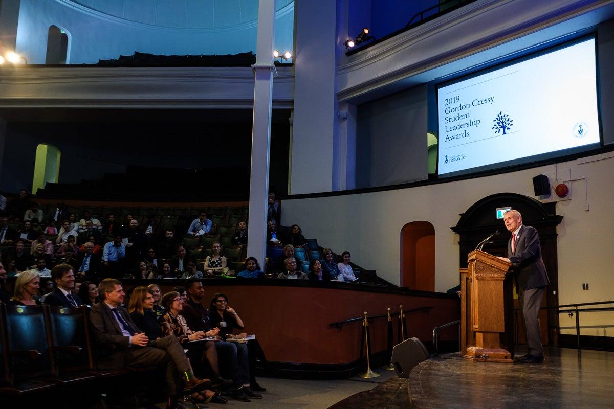 Photo of Gordon Cressy addressing award winners