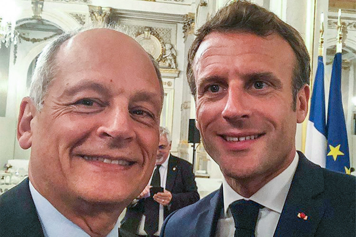 U of T President Meric Gertler and French President Emmanuel Macron