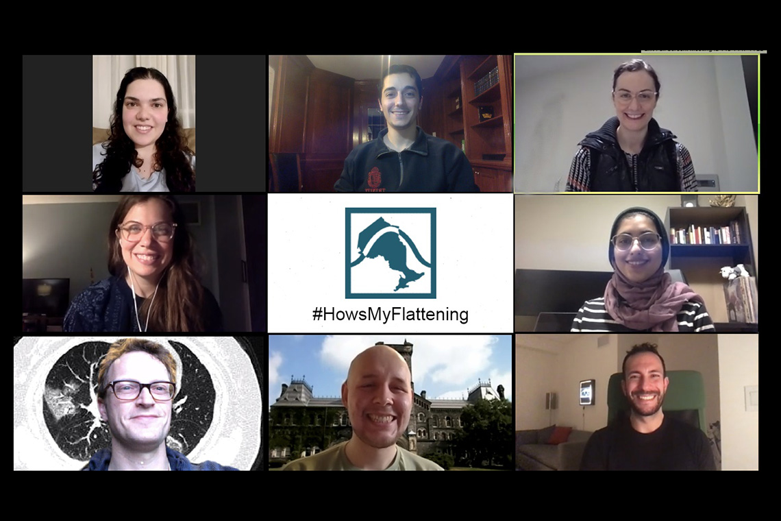 #HowsMyFlattening team members participate in a Zoom conference