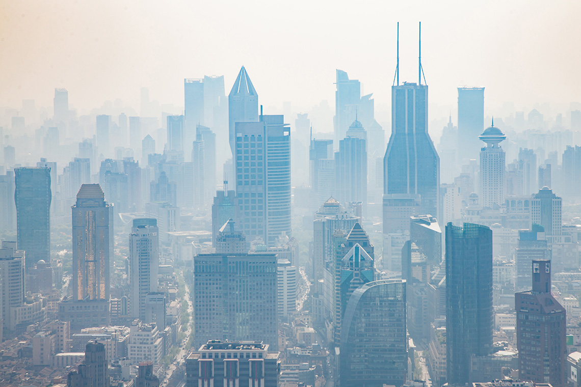 photo of smog with highrises in the background