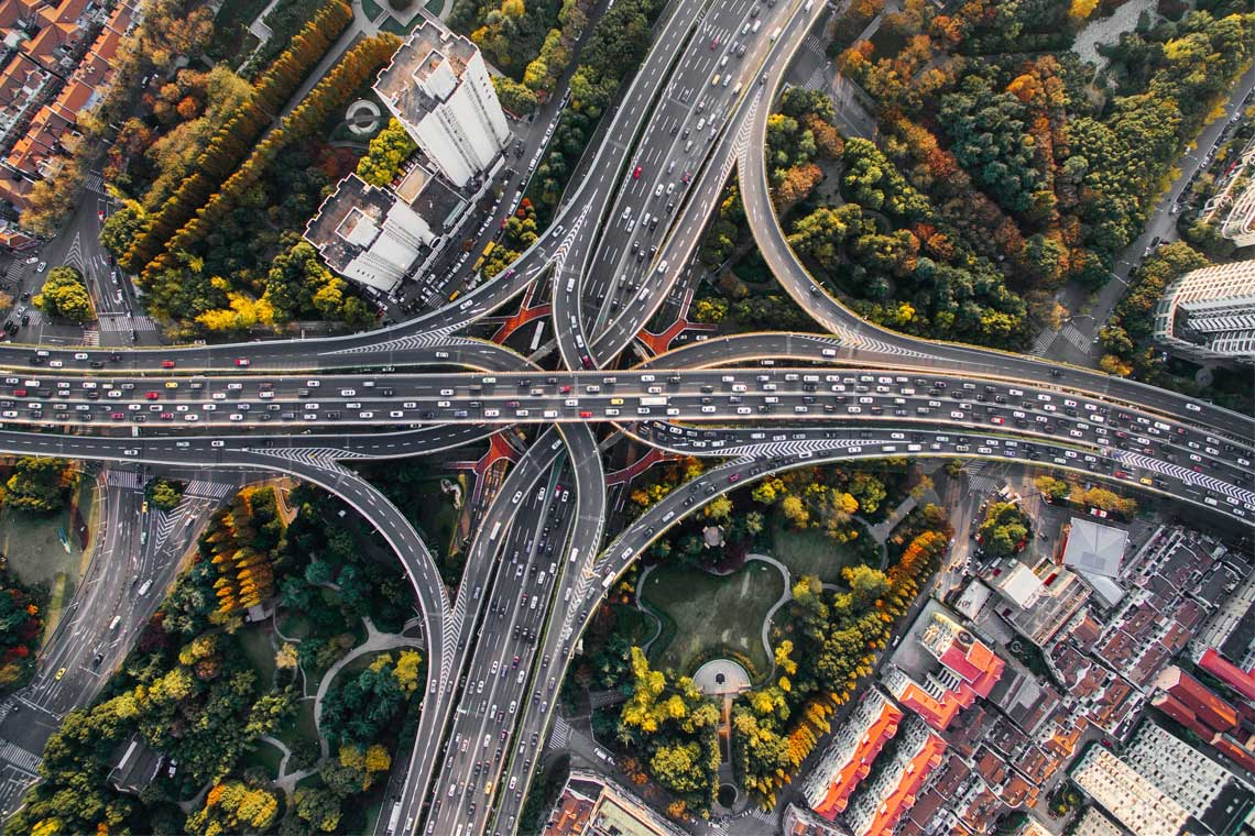 Photo of an interchange in Shanghai, China