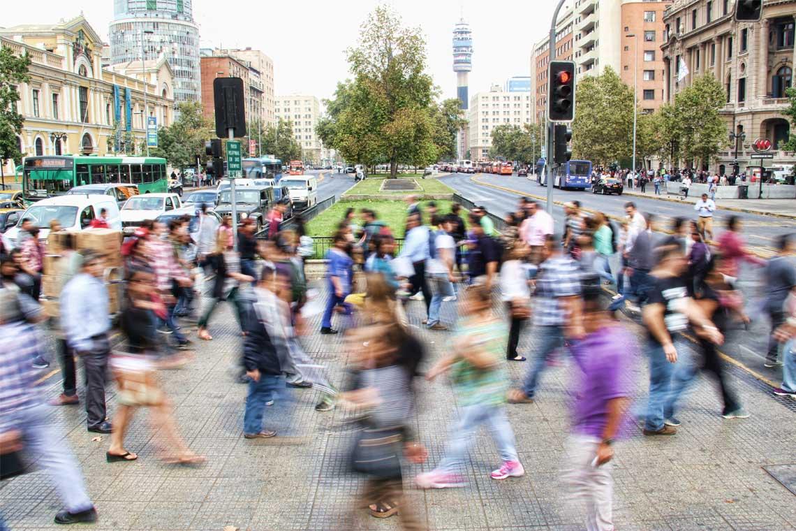 Photo of a crosswalk in Santiago, Chile