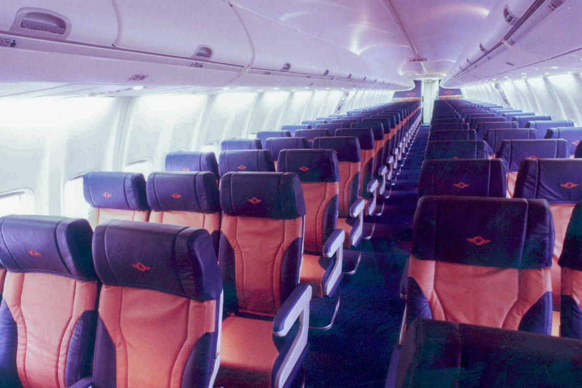 Cabin of a Southwest Airlines 737