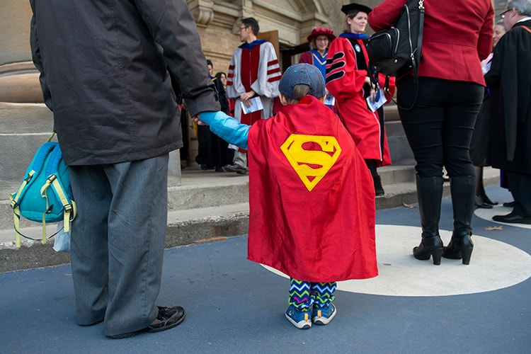 Boy with Superman cape