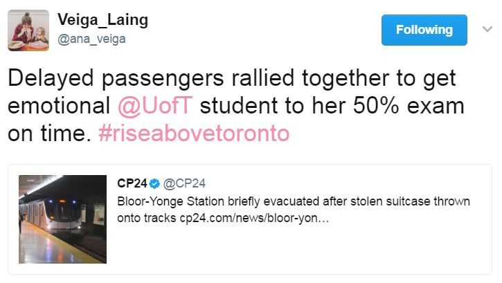 Tweet about delay on TTC and helping a U of T student get to final exam