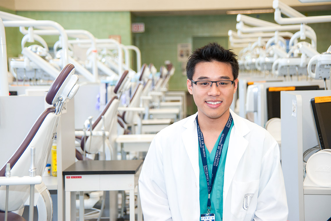 Photo of Trevor Thang in a Faculty of Dentistry' lab