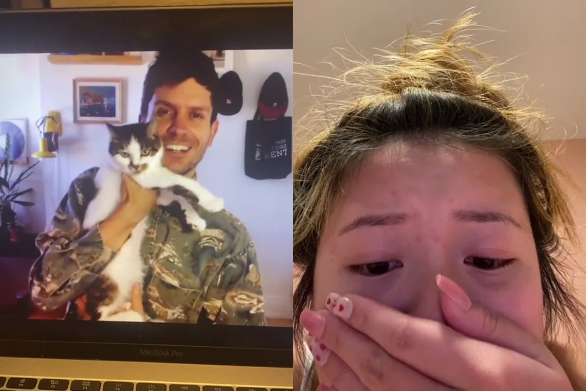 Adam hammond holding his cat and samantha chan reacting with tears