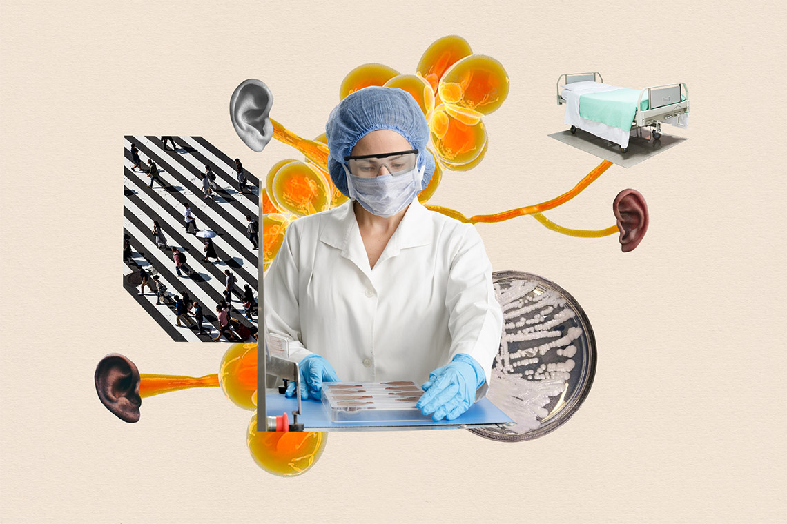 Photo illustration of a lab tech