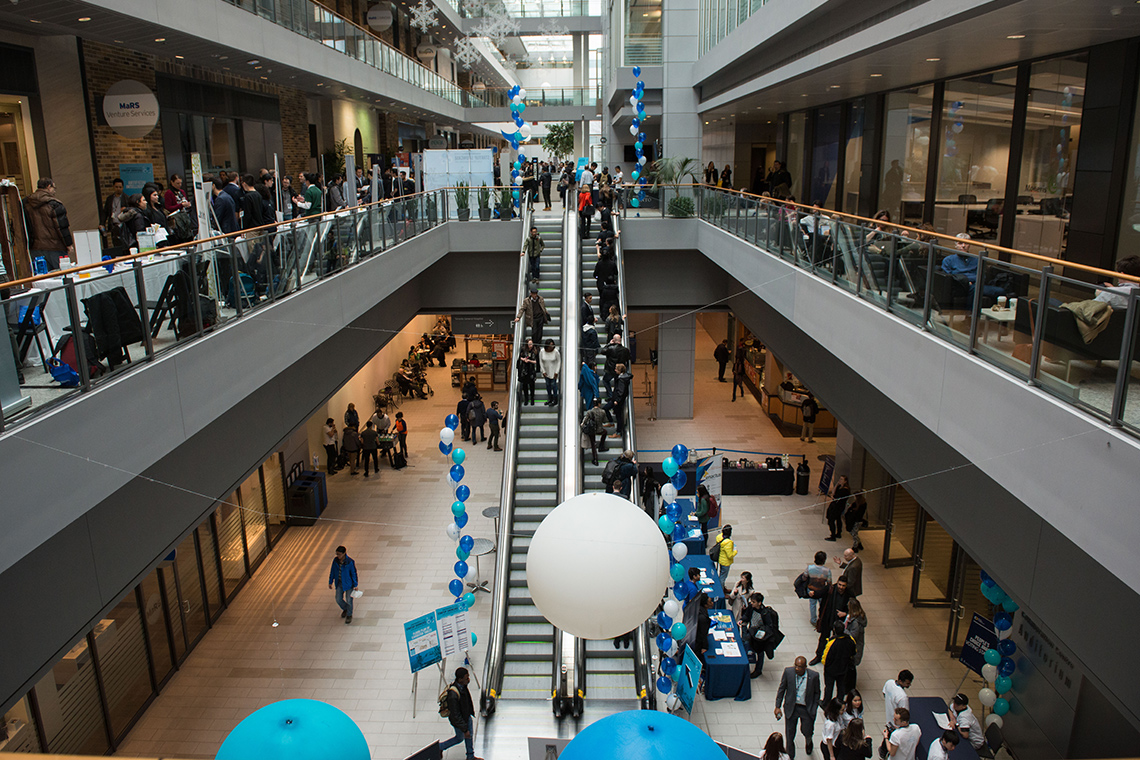 photo of the MaRS atrium during Entrepreneurship Week 2018