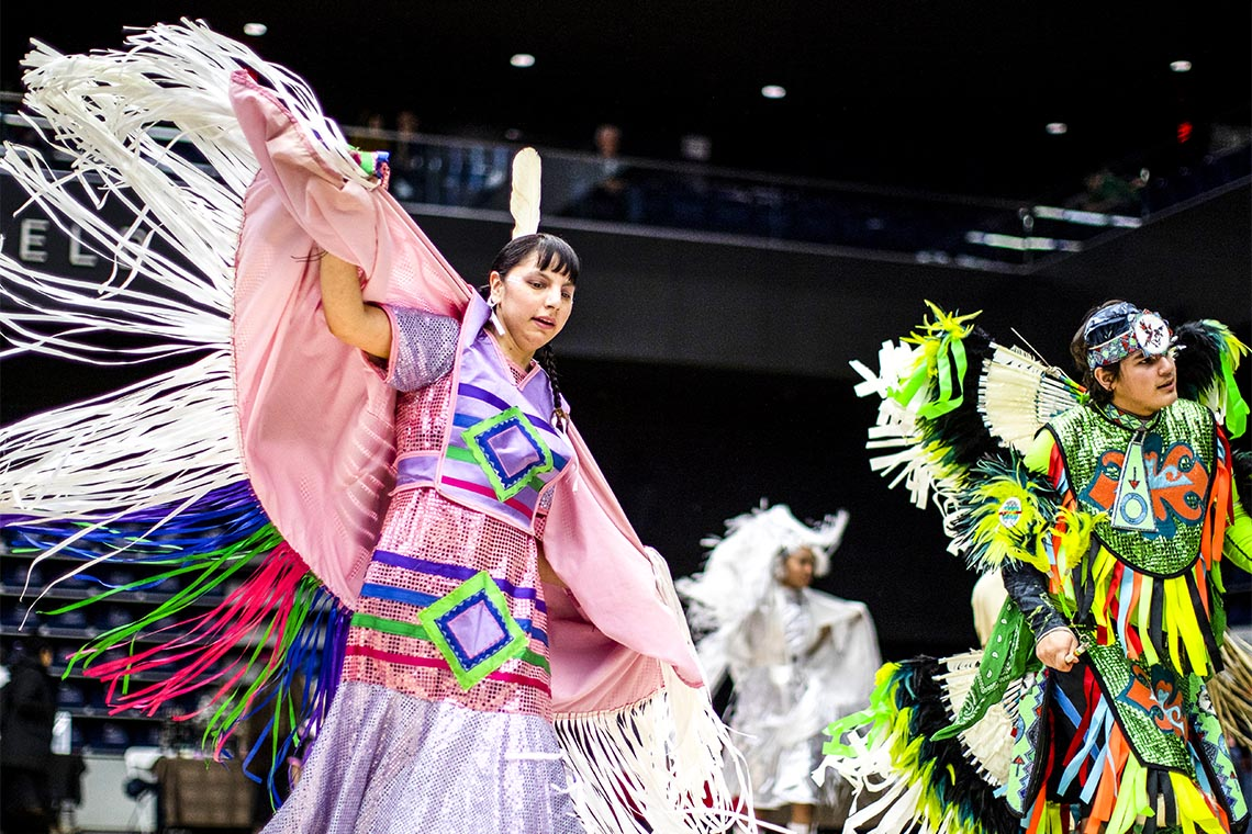 Photo of dancers at the U of T's Honouring our Students Pow Wow