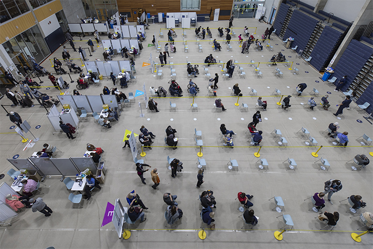 overhead view of the vaccination clinic at UTM