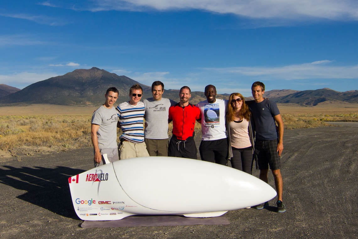 Aerovelo team poses with the Eta vehicle