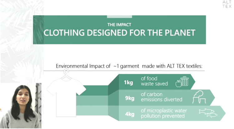 Slide reads Clothing designed for the planet. Environmental impact of 1 garment made with alt tex textiles. 1kg of food waste saved. 9kg of carbon emissions diverted. 4kg of microplastic water pollution prevented.