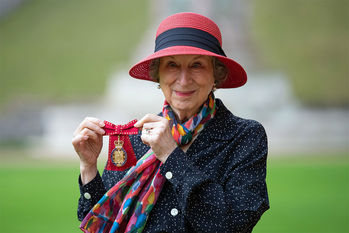 Photo of Margaret Atwood with her Companion of Honour medal