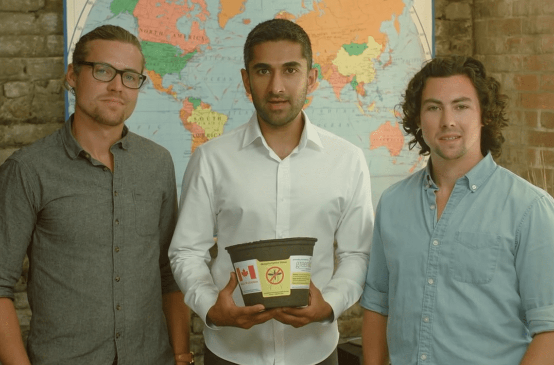 Greenlid founders Morgan Wyatt, Adil Qawi and Jackson Wyatt hold a biotrap