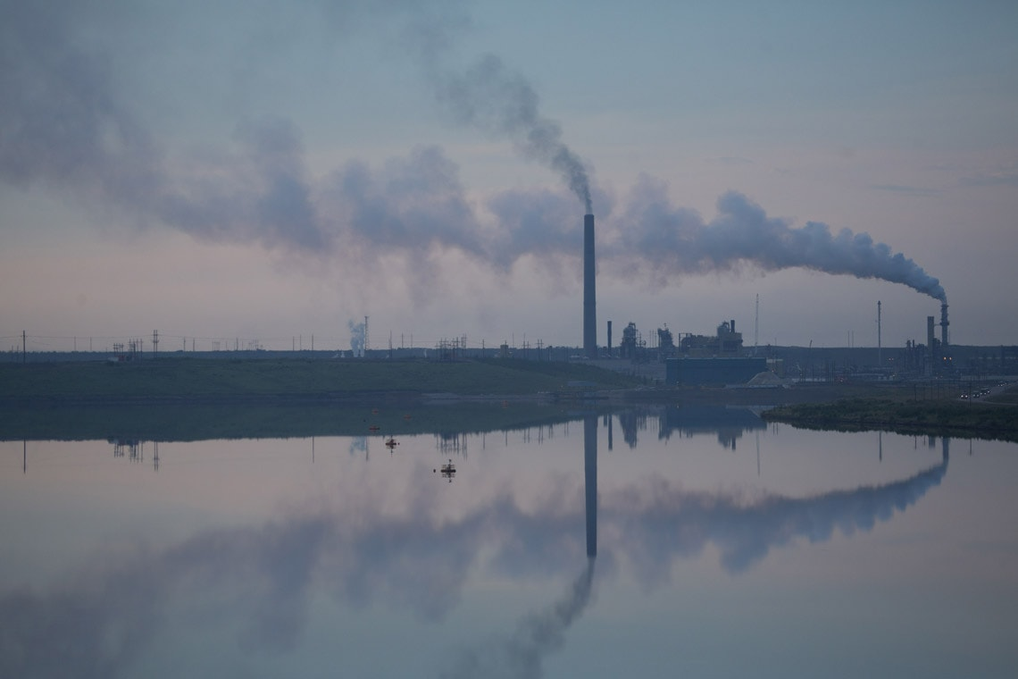 smokestacks in Alberta tar sands