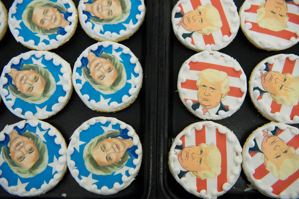 Donald Trump and Hillary Clinton cookies are on sale at the Oakmont Bakery on November 8, 2016 in Oakmont, Pennsylvania.