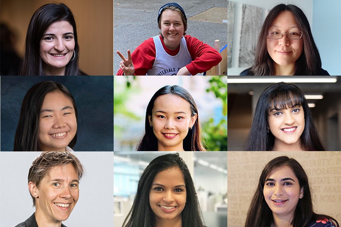Portraits of nine U of T Engineering graduates arranged in one image