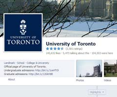 Screen shot of U of T's facebook page