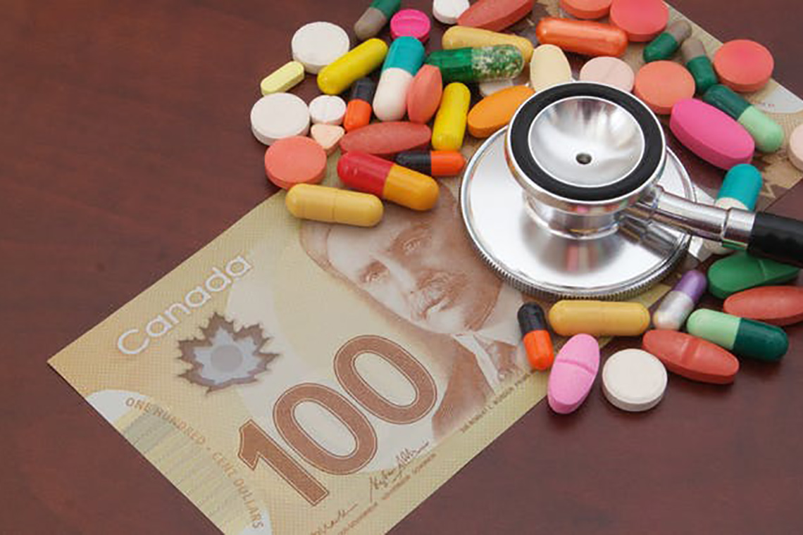 Photo illustration that includes pharmaceuticals, money and a physician's stethoscope