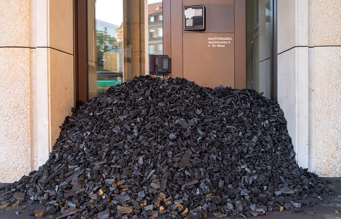 Photo of protest using coal